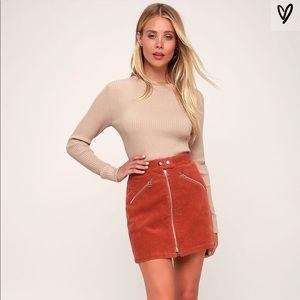 Lulus Rust Orange Corduroy Mini Skirt!